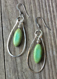 Green Turquoise Drop Earrings with Hammered Silver Hoops
