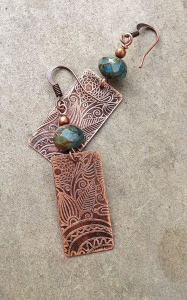 Floral Patterned Etched Copper Earrings with Green Blue Czech Glass