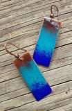 blue brown ombre enameled earrings