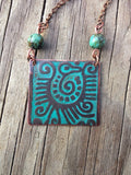 Etched Copper Southwestern Tribal Bird Necklace