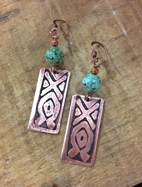 Tribal, Ethnic Ethched Copper Earrings with Turquoise
