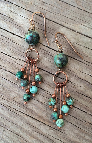 Turquoise Earrings with African Turquoise and Copper Dangles
