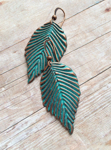 Patina Copper Leaf Earrings, Bridesmaid Gift Jewelry
