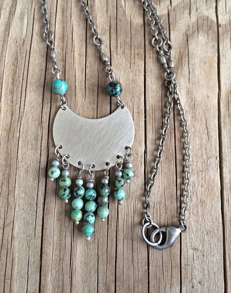 Silver and Turquoise Necklace / Brushed Silver Metal Necklace