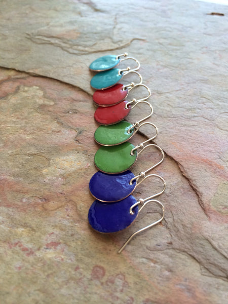 Recycled Copper Earrings, Red, Cobalt, Spring Green, Turquoise