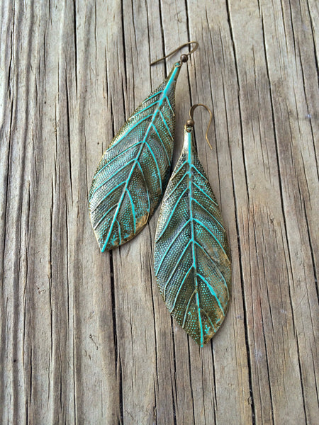 Patina Copper Long Leaf Earrings