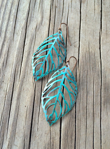Blue Patina Leaf Cutout Bridesmaid Earrings