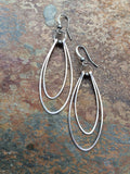 Silver Hoop Earrings, Double Silver Hammered Hoop Earrings