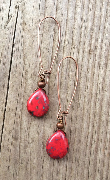 Red Earrings, Long Red Earrings, Long Hoop Earrings