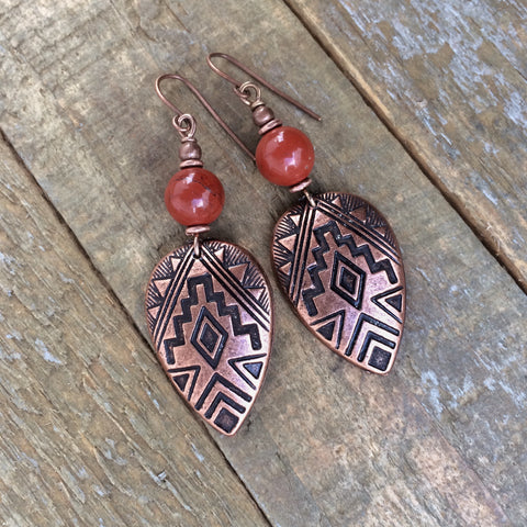 Red Stone and Copper Southwestern Earring