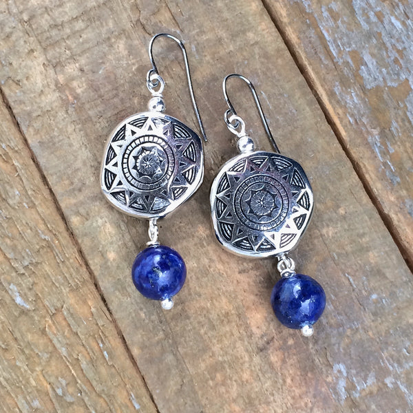 Lapis and Silver Southwestern Earring