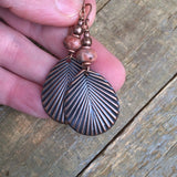 Pink Jasper and Copper Leaf Earring