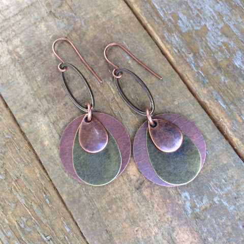 Brass and Copper Layered Geometric Earring
