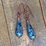 Earthy Blue Czech Glass Teardrop Earring