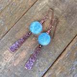 Aqua Stone and Antiqued Hammered Copper Earring