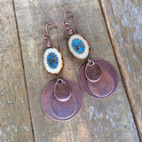Antiqued Copper and Blue Starburst Earring