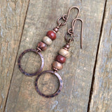 Earthy Red and Beige African Opal Earring