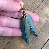 Patina Brass Feather Earring