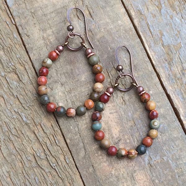 Earthy Jasper and Copper Hoop Earring
