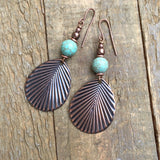 Copper Leaf Earring with Turquoise Earring