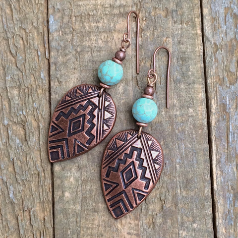 Southwestern Copper and Turquoise Earring