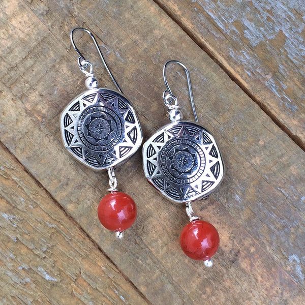Red Agate Stone and Silver Southwestern Earring
