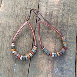 Brass and Turquoise Floral Cutout Earring