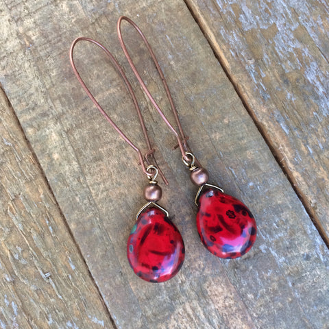 Red Czech Teardrop Earring