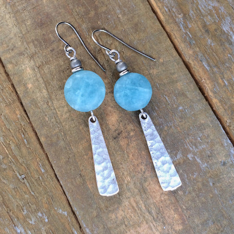 Aqua Stone and Hammered Silver Earring
