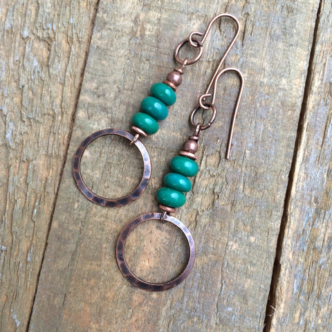 Green Turquoise and Copper Ring Earring