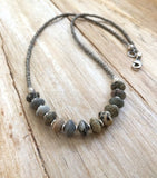 Stone Beaded Necklace, Silver Stone Necklace, Boho Jewelry, Bohemian Jewelry, Beaded Jewelry, Gray Silver Necklace