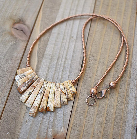 Natural stone necklace, Bib necklace, copper jewelry, southwestern jewelry, copper necklace, statement necklace