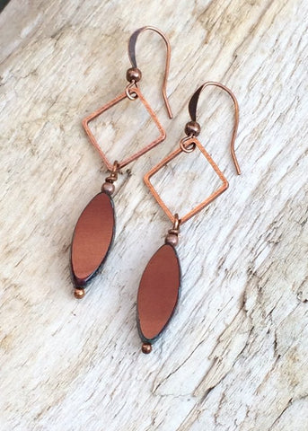 Burnt Orange Boho Geometric Earrings with Antiqued Copper