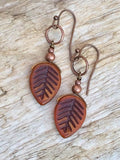 Rustic Burnt Orange Leaf Earrings with Antiqued Copper