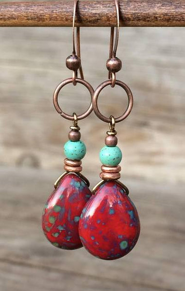 Red Teardrop Czech Glass Earrings with Turquoise and Copper