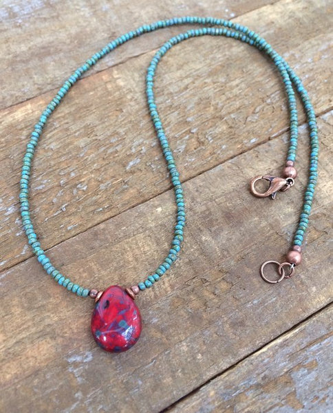 Small Red Teardrop Necklace, Boho Jewelry, Minimalist Necklace, Beaded Boho Necklace