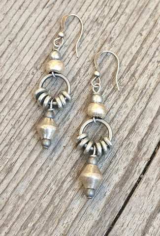 rustic silver earrings