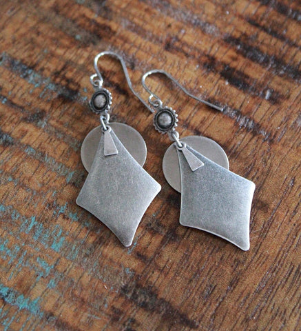 Silver Geometric Dangle Earrings, Silver Southwestern Earrings