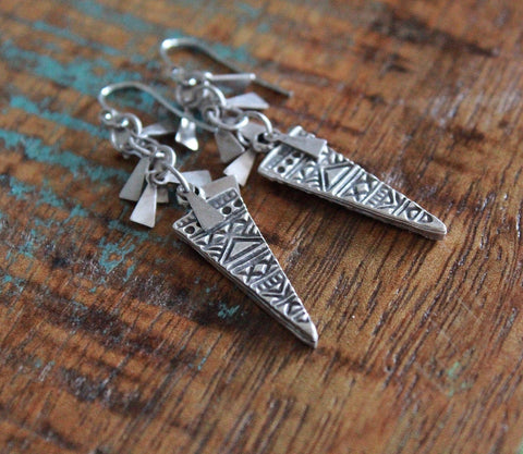 Silver Boho Dangle Earrings, Ethnic Silver Drop Earrings, Silver Boho Jewelry
