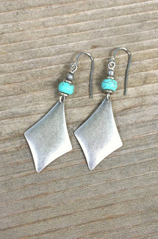 Silver and Turquoise Geometric Dangle Earrings