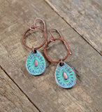 Small Patina Copper Teardrop Earrings