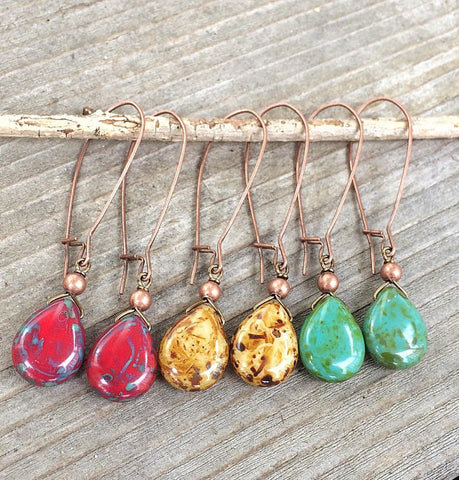 Long Dangle Earrings, Boho Dangle Drop Earrings, Boho Jewelry Earrings, Red Yellow Turquoise Jewelry