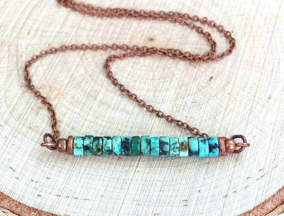 Turquoise Bar Necklace with Antiqued Copper Chain