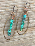 Turquoise hoop earrings, genuine turquoise nugget earrings, turquoise and copper jewelry