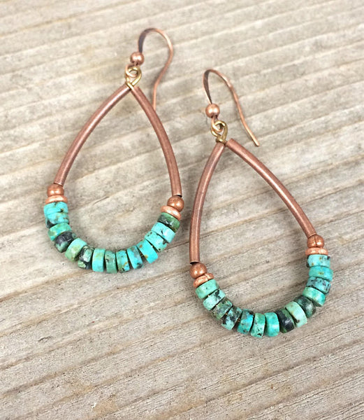 Turquoise Hoop Earrings, Southwestern Turquoise Earrings, Copper Hoop Earrings