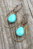 turquoise teardrop dangle hoop earring