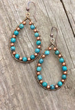 turquoise wrapped copper hoop earrings