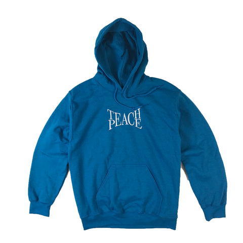 Teach Peace Embroidered Hoodie Sweatshirt - Blue