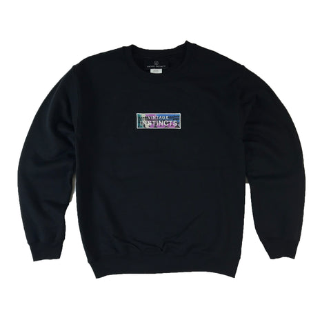 1990's Vintage Fabric Patch Logo Crewneck Sweatshirt - Black