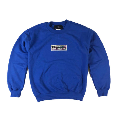 1990's Vintage Fabric Patch Logo Crewneck Sweatshirt - Blue